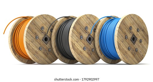 Wire electric cable of different colors on wooden coil or spool isolated on white background. 3d illustration