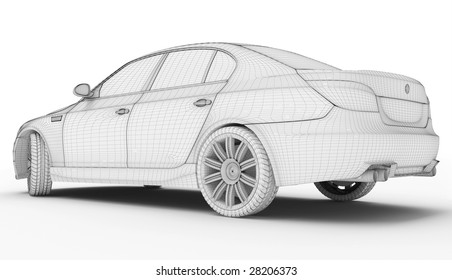 Wire frame car isolated white - Computer graphics generated