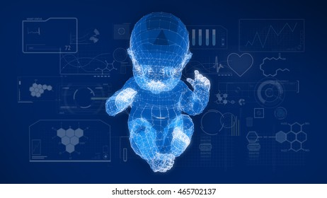 Wire frame of the model of the baby with graphics research on blue screen.3D rendering.