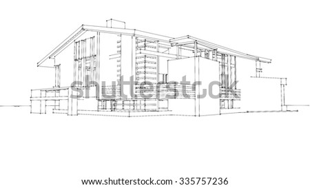 Wire Frame Modern House Stock Illustration 335757236 Shutterstock. Wire Frame Modern House. Wiring. House Framing Diagram Fill In At Scoala.co