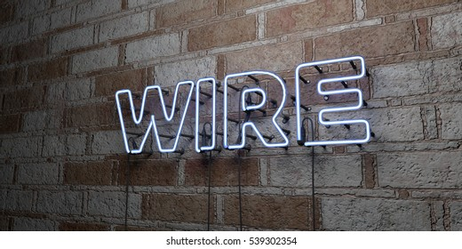 WIRE - Glowing Neon Sign on stonework wall - 3D rendered royalty free stock illustration.  Can be used for online banner ads and direct mailers.
