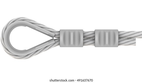 Wire rope. The attachment of the ends of the steel wire rope at slinging by using thimble and the crimp sleeve. Isolated. 3D Illustration