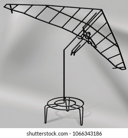wire sculpture of hang glider