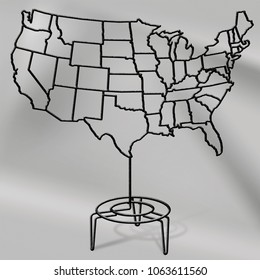 wire sculpture map of the United States