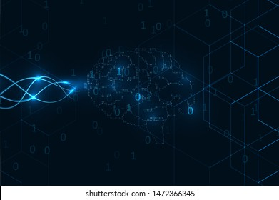 Wired brain illustration. Global network graphic concept. Artificial intelligence illustration