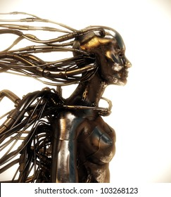 Wired cyber woman