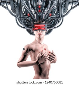 Wired for data woman / 3D illustration of science fiction cyberpunk female figure hardwired to virtual reality on white background