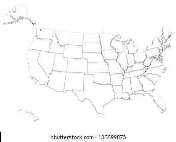 map usa 3 d render include hawaii stock illustration royalty free Alaska On US Map wired usa map 3d on white with alaska and hawaii