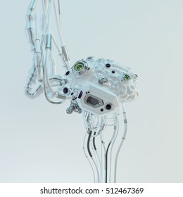 Wired white robotic eternal organ - brain 3d render / Cyborg brain 3d illustration