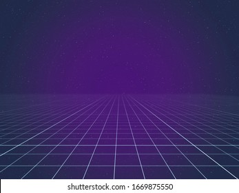 A wireframe 3D grid getting blurred at the horizon, in a glowing pink and blue space full of stars.