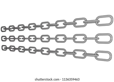 Wireframe BlockChain links. Chain 3d render illustration