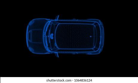 wireframe car. top angle