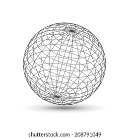 Wireframe globe icon, 3d version