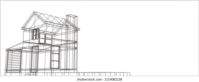 wireframe house isolated on white background 3d illustration