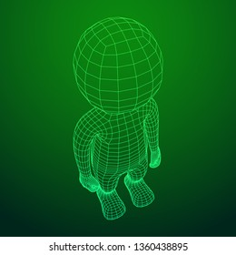 Wireframe low poly mesh human cartoon body in virtual reality. Medical blueprint scanned 3D render. Polygonal technology design.