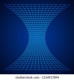 Wireframe Mesh Funnel. Connection Structure. Big Data Visualization Concept. 3d render Illustration.
