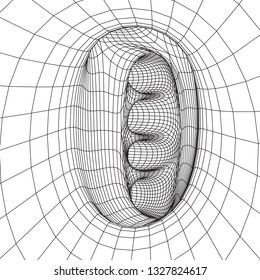 Wireframe Mesh Organic Tube. Connection Structure. Big Data Visualization Concept. 3d render Illustration.
