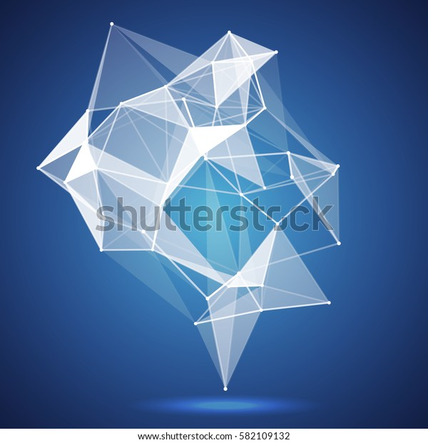 Wireframe mesh polygonal background. Abstract form with connected lines and dots. illustration.