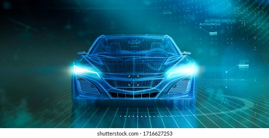 Wireframe of modern car with hi tech user interface details in dark environment, font view (3D Illustration)