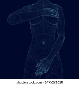 Wireframe of a naked girl, covering her body with her hands. Polygonal girl of blue lines on a dark background. 3D illustration.