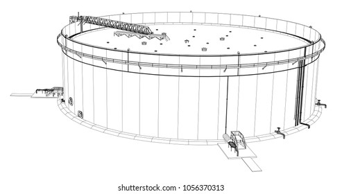 Wire-frame oil tank. 3d rendering on white background