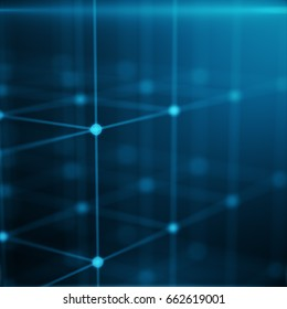 Wireframe Polygonal Element. Cube consisting with Blue Lines and Dots. Blue Background, 3D rendering