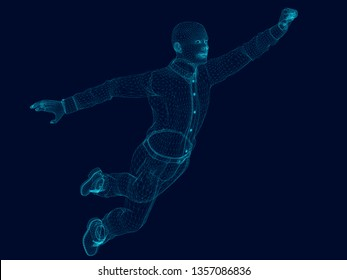 Wireframe of a polygonal man flies raising his hand up. 3D illustration.