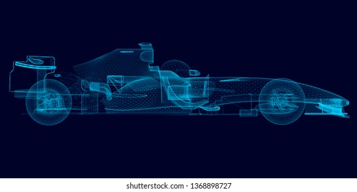 Wireframe of a polygonal racing car of blue lines on a dark background. Side view. 3D illustration