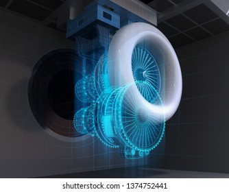 Wireframe rendering of aeroengine test cell. Digital twin concept. 3D rendering image.