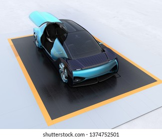 Wireframe rendering of electric car on metal checker plate. Right door opened. 3D rendering image.