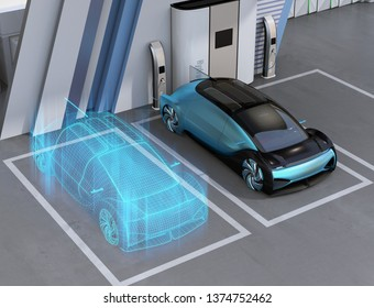 Wireframe rendering of Fuel Cell powered autonomous car in Fuel Cell Hydrogen Station. Digital Twin concept.  3D rendering image.