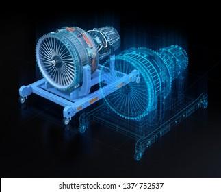 Wireframe Rendering von Turbojet-Motor und gespiegelten Körper auf schwarzem Hintergrund. Digitales Zwillingskonzept.  3D-Renderbild.