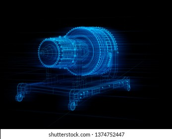 Wireframe rendering of turbojet engine on black background. Digital twin concept. 3D rendering image.