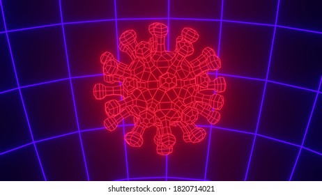 Wireframe retro style virus star particle