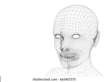 Wireframe young woman head 3d illustration