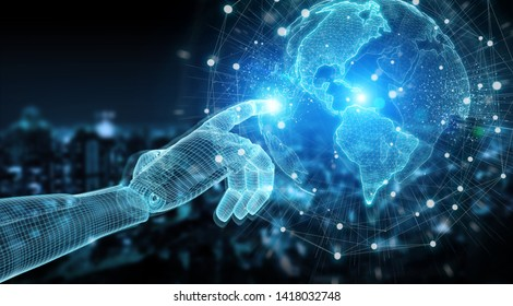 Wireframed blue robot hand touching digital world map on dark background 3D rendering