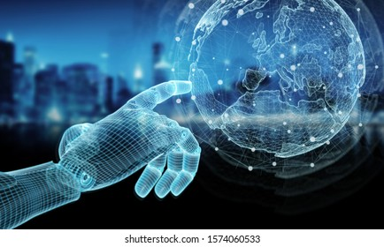 Wireframed blue robot hand touching digital world map on dark background 3D rendering