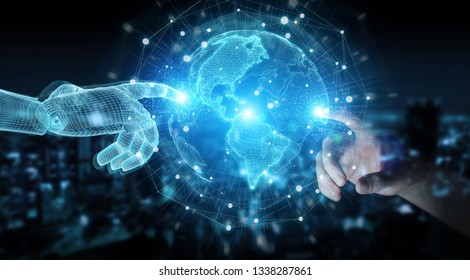Wireframed robot hand and human hand touching digital world on dark background 3D rendering