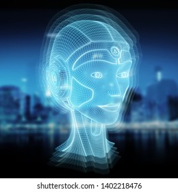 Wireframed robotic woman head representing artificial intelligence concept 3D rendering