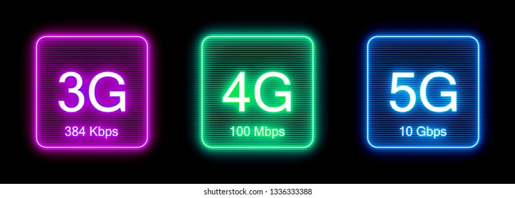 Wireless cellular network speed evolution icons: 3g, 4g, 5g