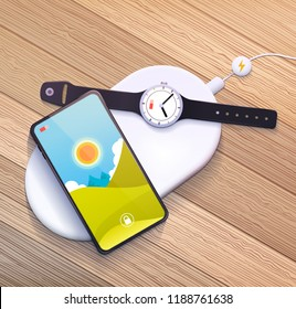 Wireless charging pad with mobile phone and smart watch.