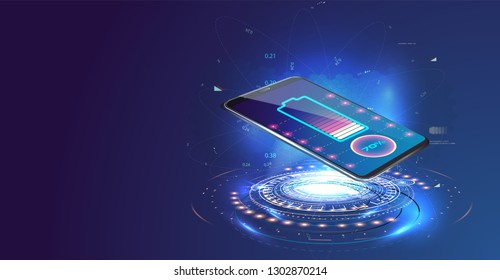Wireless charging of the smartphone battery. Future concept. The progress of charging the battery of the phone.Wireless charging