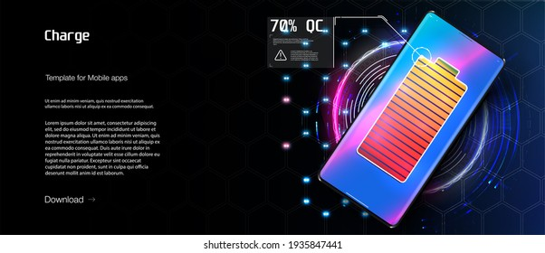 Wireless charging of the smartphone battery. Future concept. Universal charging base for gadgets and devices on blue background. Powerful charge causing a lot of sparks. Progress of charging battery