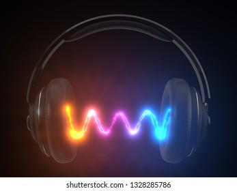 wireless headphone concept with energy emision. suitable for music, audio, audiophile, game and sound themes. 3d illustration