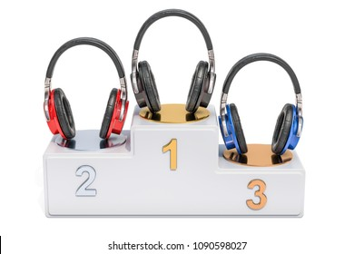 Wireless headphones ratings concept. Winners podium with earphones, 3D rendering isolated on white background