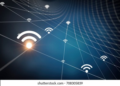 wireless network abstraction 3D Rendering 3D illustration