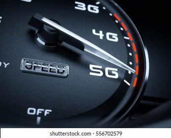 Wireless network speed concept, speedometer 5G evolution. 3d rendering