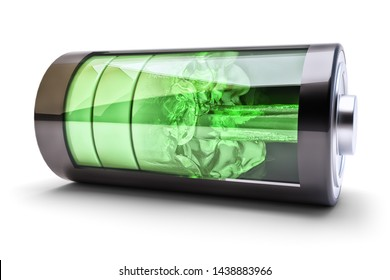 Wireless power source charging concept, accumulator battery with green charging level indicators and the flow of charging energy, isolated on white, 3d illustration