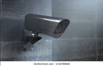 A wireless surveillance camera with illuminated lights mounted on a wall in the night-time with copy space - 3D render