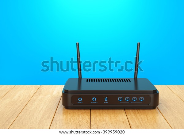 Wireless wi-fi router with two antennas on wooden table. High speed internet connection, computer network and telecommunication technology concept. 3D illustration